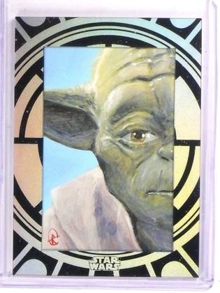 2015 Topps Star Wars High Tek Sketch #1/1 Yoda By Eli Rutte *53385