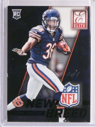 2015 Donruss Elite New Breed Jeremy Langford NFL Tag Patch black #D 1/1 *55149