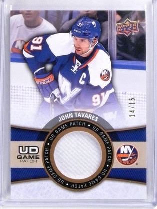 2015-16 Upper Deck Series 1 John Tavares UD Game Patch Gold #D14/15 #GJTA *56977