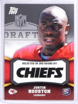 2011 Topps Rising Rookies Justin Houston 1/1 Black Rookie RC #159 *56889