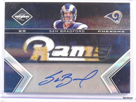 2010 Limited Sam Bradford autograph auto rc rookie patch #D9/199 #201 *42652