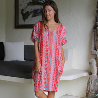 Freez Pocket Dress Red Aztec