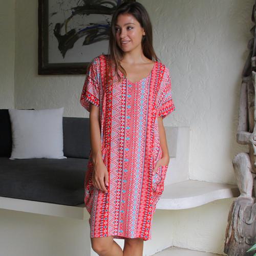 Freez Pocket Dress Red Aztec