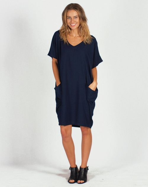 Freez Pocket Dress Navy