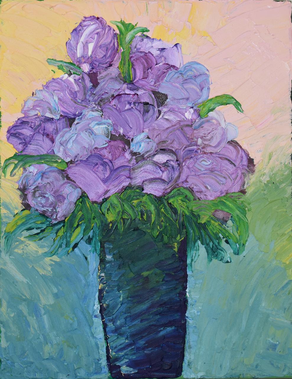 Original Oil Cold Wax Painting Purple Flowers In Blue Vase 11 X 14