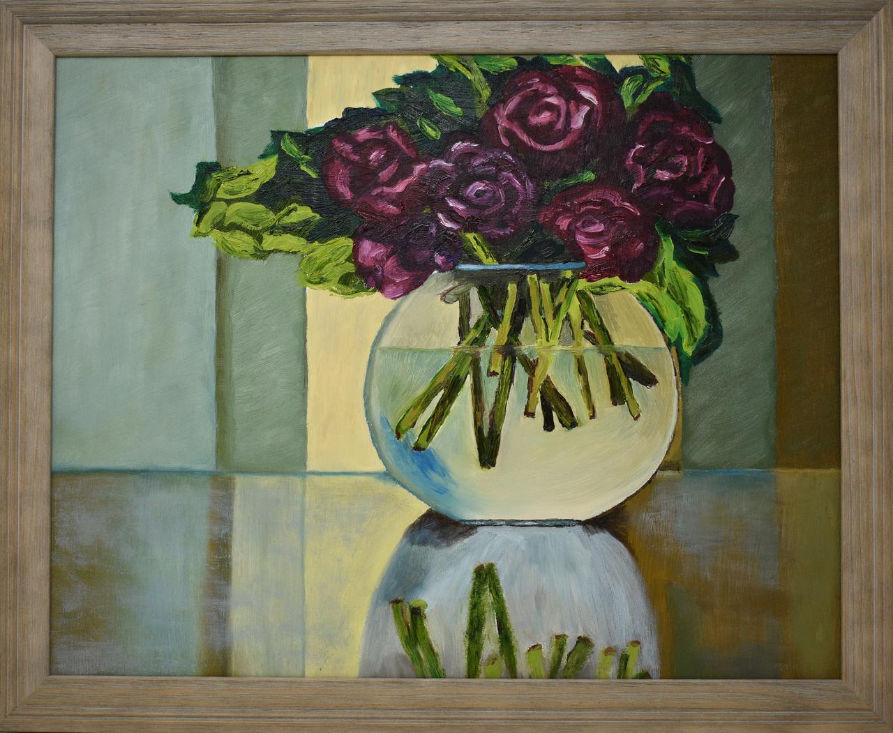 Original oil painting red roses in glass vase with green original oil painting red roses in glass vase with green curtains 16 x reviewsmspy