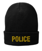 Black knit cap 12 inch with Police in Marine Gold Thread