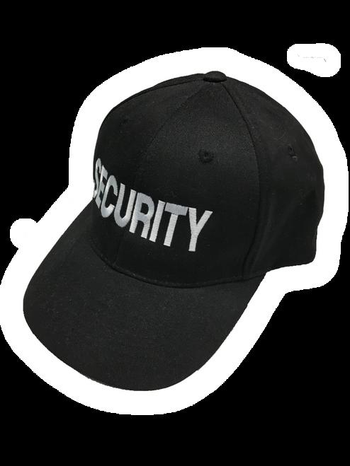 """Security"" in Teardrop Grey thread on Black"