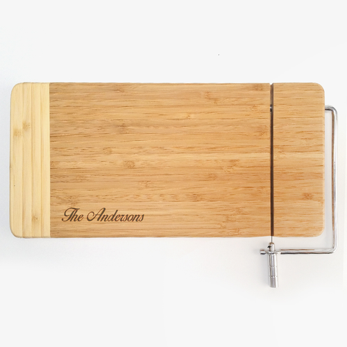 "CTB223 - 12"" x 6"" Bamboo Rectangle Cutting Board with Metal Cheese Cutter"