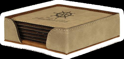 "GFT239 - 4"" Light Brown Square Laserable Leatherette 6-Coaster Set"