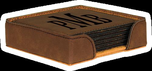 "GFT240 - 4"" Dark Brown Square Laserable Leatherette 6-Coaster Set"