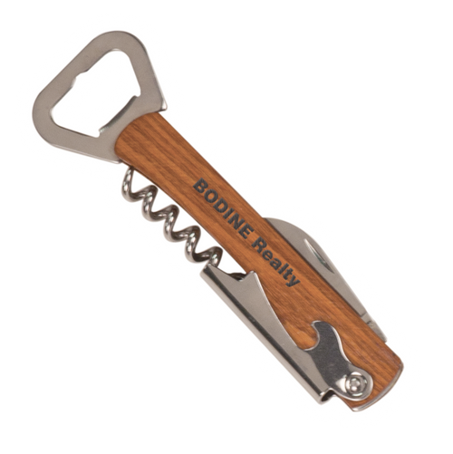 "GFT045 - 5 1/4"" Wooden Bottle Opener & Wine Corkscrew"