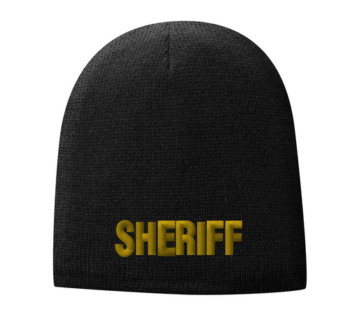 Fleece Lined Black knit cap 9 inch with Sheriff in Marine Gold Thread