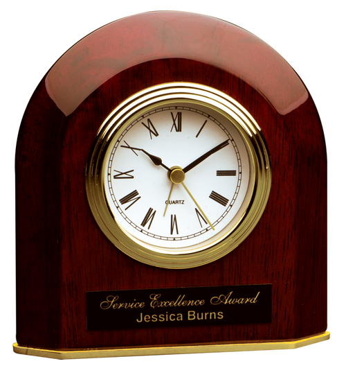 T065: Rosewood Piano Finish Beveled Arch Desk Clock