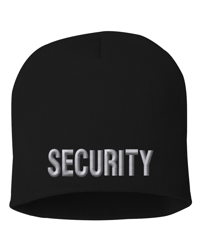 Black knit cap 8 inch with Security in Tear Drop Thread