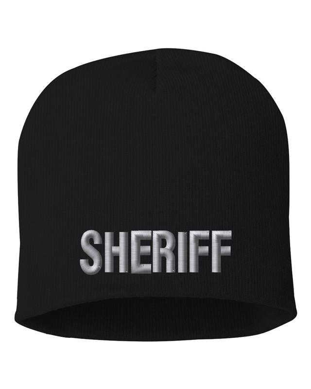 Black knit cap 8 inch with Sheriff in Tear Drop Thread