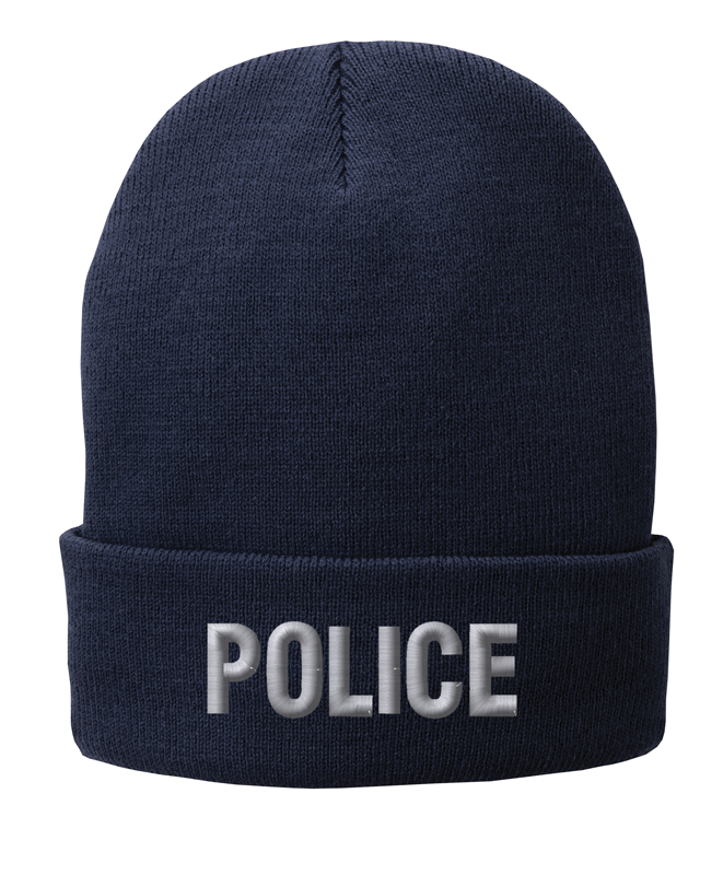 Navy knit cap12 inch with Police in Tear Drop Thread
