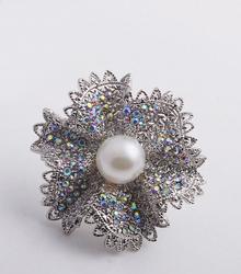 Iridescent Crystal Floral Brooch