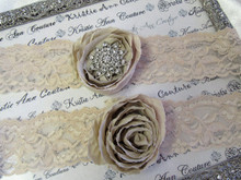 Champagne Lace Bridal Garters with Chiffon Roses