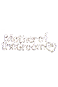 Rhinestone Mother of the Groom Swirly Heart Pin