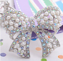 Pearl and AB Rhinestone Bow Brooch