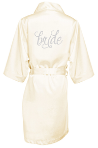 Pretty Script Bridal Party Robe with Clear Rhinestones
