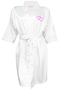 Rhinestone Embellished Satin Robe with Double Hearts Design