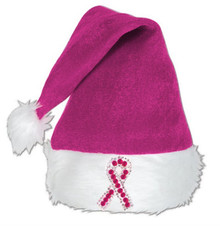 Rhinestone Pink Ribbon Santa Hat    Hot or Light Pink