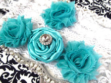 Shabby Chic Rose, Rhinestone and Lace Bridal Garter Set - Custom Colors!