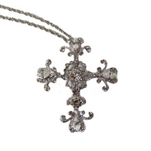 Shiny Silver Marquis and Round Crystal Cross