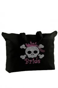 Custom Rhinestone Skull Tote Bag