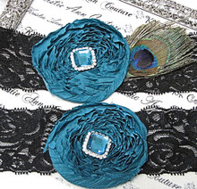 Black Lace Vintage Bridal Garter with Teal Gem Flower
