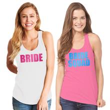 Bride & Bride Squad Racerback Tank Tops with Metallic Print