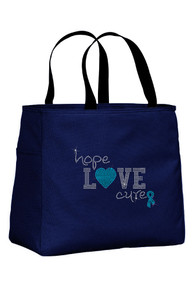 Navy Tote Bag with Turquoise Accent Color