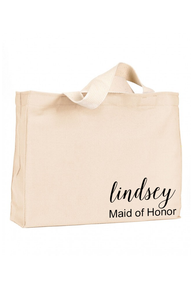 Canvas Tote Bag with Printed Name and Optional Title