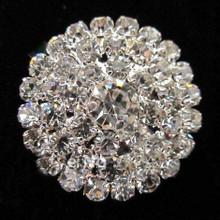 Clear Crystal Round Brooch