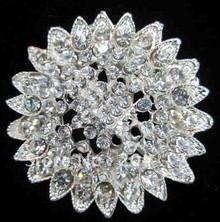 Clear Crystal Sunburst Brooch