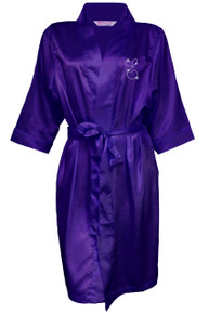 Satin Robe with Rhinestone Initial
