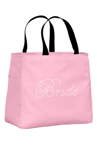 Rhinestone Bridal Party Tote Bags in Edwardian Script Font