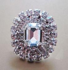 Emerald Cut Crystal Button Brooch