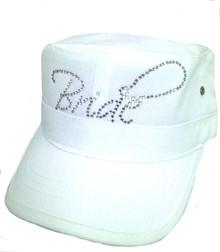 Custom Rhinestone Bride Cap - Military Fidel Style
