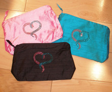 Breast and Ovarian Cancer Silk Cosmetic Bag with Crystals