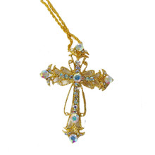 Gold Tone and Shimmering Aurora Borealis Crystal Cross