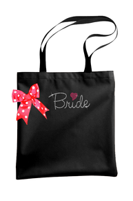 Rhinestone Heart Bride Tote with Polka Dot Bow
