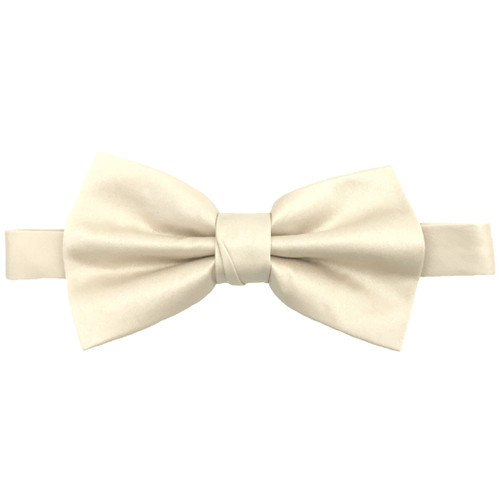 Ivory Luxury Matte Satin Bow Tie with Adjustable Clasp