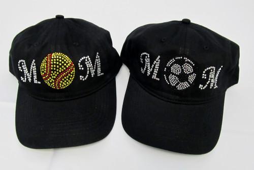 Rhinestone Embellished Sports Mom Hat