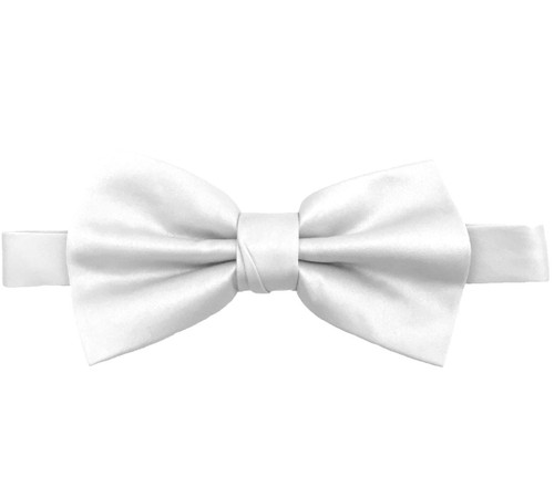 White Luxury Matte Satin Bow Tie with Adjustable Clasp