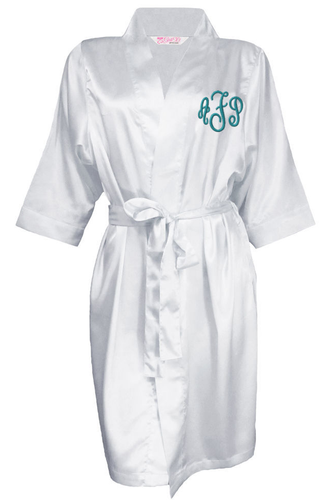 Embroidered Monogrammed Satin Bridal Robe