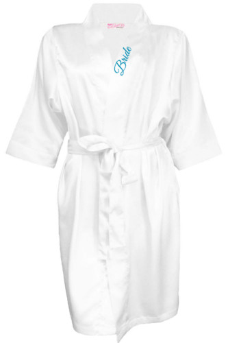 Satin Bridal Party Robe with Embroidered Title