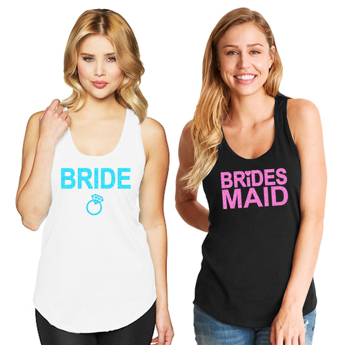 Bridal Party Racerback Tank with Neon Glitter Print